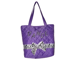 Purple Tote Bag With Zebra Bow