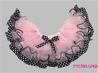 Double Trim Sweet Pink With Black Polka Dot Ribbon Skirt
