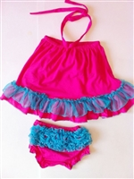 Fuchsia with Blue Trim Swing Top Set