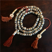 White Hand Carved Yak Bone  Studded  Mala - 108 Beads