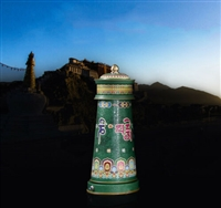 11 Inch Electric Green Tara Prayer Wheel