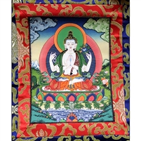 Chenrezig Brocade Hand Painted Thangka
