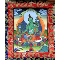 Green Tara Brocade Hand Painted Thangka