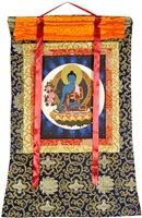 Medicine Buddha Brocade Hand Painted Thangka