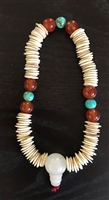 Sacred Bone 108 Bone Bead Mala with Bodhi Seed Root Guru Bead & Gem Spacers
