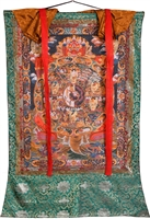 Brocaded Wheel of Life Hand Painted Thangka SHIPS FREE WORLD WIDE