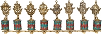 Set of  Auspicious Symbol's Om Mani Padme Hum Prayer Wheels