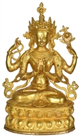 14.4 Inch Chenrezig Brass Statue- Ships Free World Wide