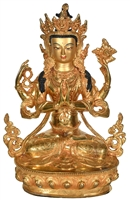 Chenrezig 24 Carat Gilded Copper 12.5 Inches SHIPS FREE WORLD WIDE