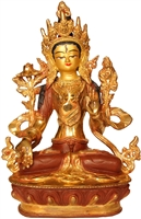 White Tara 24 Carat Gilded Copper 9 Inches Ships Free World Wide