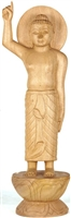 Standing Buddha Hand Carved Wood From Bod Gaya 16.5 inches - Ships Free World Wide