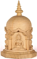 13.5 Inch Five Dhyani Buddha's Statue Hand Carved Wood From Bod Gaya - Ships Free World Wide