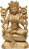 Green Tara Hand Carved Wood From Bod Gaya 17 inches - Ships Free World Wide