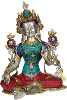 Green Tara White Brass with Gem Inlays  - 15 Inch SHIPS FREE WORLDWIDE