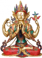 Chenrezig Gem Inlayed Master Crafted Statue - 31 Inch