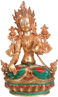 White Tara Copper with Gem Inlays  13 Inch SHIPS FREE WORLDWIDE