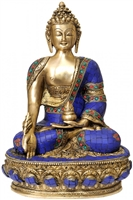Medicine Buddha Brass Statue with Inlays 12.5 Inch