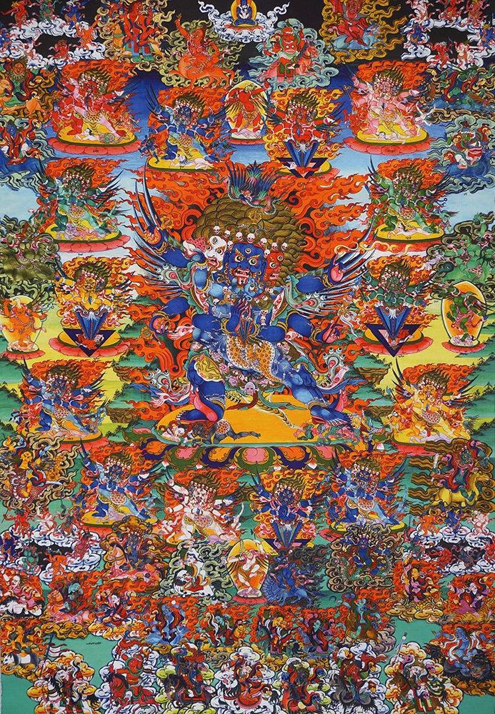 Wrathful Deities of the Bardo Brocaded Thangka 50 inches