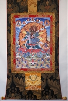 4 Armed Mahakala on Horse Back  Brocaded Thangka 50 inches