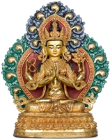Chenrezig Copper Gilded with 24 Carat Gold 14.7 Inch Statue  Ships Free World Wide