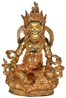 24 Carat Gilded  Copper Yellow  Dzambhala Statue 12.3 Inches SHIPS FREE WORLD WIDE