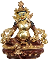 24 Carat Gilded  Copper Yellow Dzambhala 6 Inch Statue