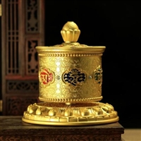 Gold Plated 8 Om Mani ls Table Top Prayer Wheel 5 inches