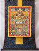 Namtose  ( Vaishravana ) & The Five Dzamabhala's Brocaded Print Thangka 32 inches