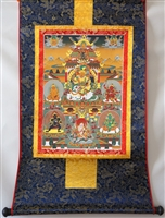 Namtose  ( Vaishravana ) & The Five Dzamabhala's Brocaded Print Thangka 48 inches