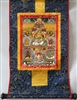 Namtose  ( Vaishravana ) & The Five Dzamabhala's Brocaded Print Thangka 16 inches