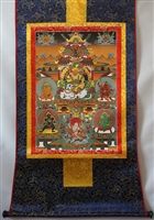 Namtose  ( Vaishravana ) & The Five Dzamabhala's Brocaded Print Thangka 24 inches
