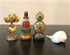 24 Carat Gold Plated Food / Flower & Incense Torma's With Rare Right Turning Conch Shell