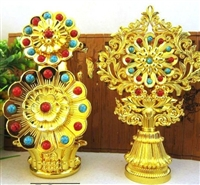 Large Gold Plated Flower & Food Torma Set