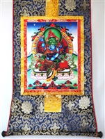 Green Dzambhala & Consort Thangka 32 inches