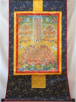 Je Tsongka & Gelug Refuge Tree Print Brocaded Thangka 48 inches