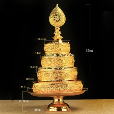 Gold Plated Mandala Set with Bottom Plate 17.7 Inches