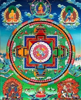 Mandala of Medicine Buddha Thangka 32 Inches
