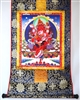 Red Dzambhala & Consort Thangka 32 inches