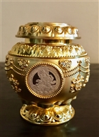 Small Gold Plated Yellow Dzambhala Treasure Vase