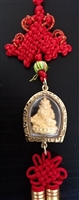 Yellow Dzambhala Gold Plated Tsa Tsa Amulet 12 Inches