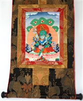 Green Dzambhala Thangka 24 inches