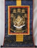 Yellow Dzambhala & The Five Buddha's Thangka 32 inches