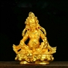 Red Dzambala Gold Plated Statue - 3.5 Inch