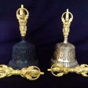 Finest Quality Bell and Dorje with Brocade Case ( Dark or Light )