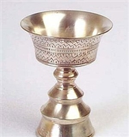 White Metal Butter Lamp - 3.5 Inch
