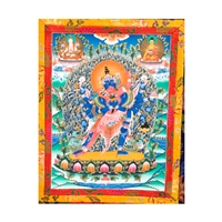 "Chakrasamvera with Consort Vajravarhi with the Buddha and White Tara Hand Painted Brocade Thangka - Image 15"" x 20"""