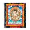 "White Mahakala Hand Painted Brocade Thangka - Image 9"" x 12"""
