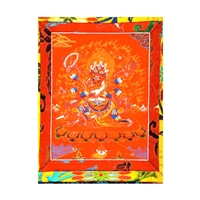 "6 Armed Mahakala Hand Painted Brocade Thangka - Image 7"" x 9"""