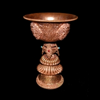 Master Crafted Large Copper Butter Lamp or Long Life Vase