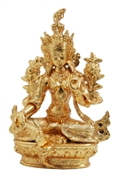 Green Tara Gold Plated Statue - 3.5 Inch